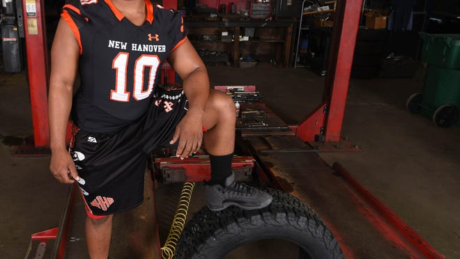 New Hanover senior linebacker Nas Brown was part of the StarNews football preview photo shoot in 2017.