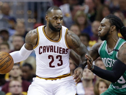 Cleveland Cavaliers' LeBron James (23) looks to drive against Boston Celtics' Jae Crowder (99) during the first half of Game 3 of the NBA basketball Eastern Conference finals, Sunday, May 21, 2017, in Cleveland. (AP Photo/Tony Dejak)