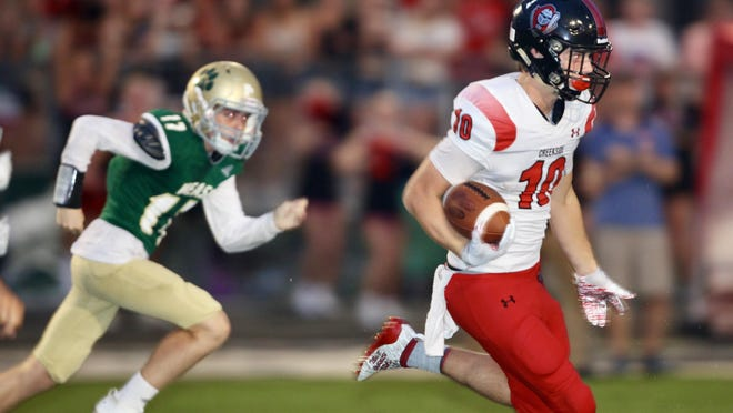 Creekside junior Jack Goodrich returns a punt during an Aug. 30, 2019, win over Nease. Goodrich caught three touchdown passes against the Panthers in Creekside's 58-51 win. He is one of 16 returning starters for the Knights this fall.