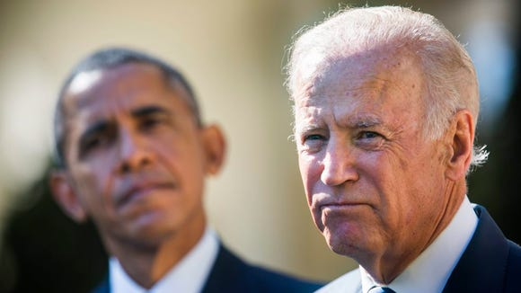 Vice President Biden, with President Obama at his side, in the Rose Garden of the White House on Oct. 21, 2015.