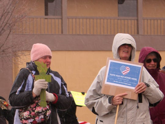 Over 30 demonstrators braved the freezing weather Saturday