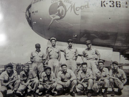 WWII veteran Harold Leavitt, 94, second from right in front row, is pictured in a photograph from his time serving in the war. Leavitt was shot down while flying on a B-29 bomber and was held for five months as a prisoner of war.