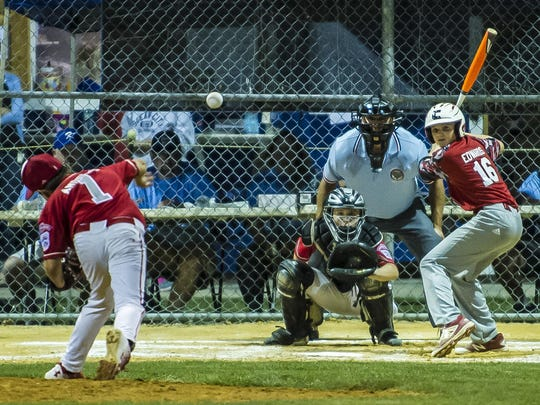 Holbrook's Chris Andrews (1) hurls one home to batterymate JR Osmond at the State Little League Tournament game 4, Swedesboro vs. Holbrook at the Kittatinny Little League field in Newton, July 28, 2017. (Photo by Warren Westura for the Asbury park Press)