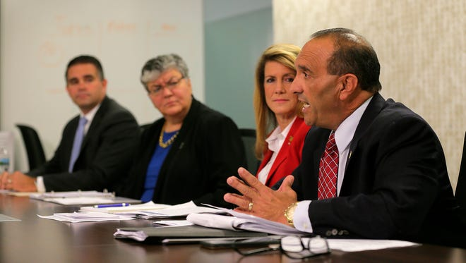 (R-L) (front to back) Republican incumbents Tom Arnone and Serena DiMaso face Democratic challengers Sue Fulton and Matt Doherty during the Monmouth County Freeholder editorial board meeting at Asbury Park Press in Neptune, NJ Tuesday, October 18, 2016.