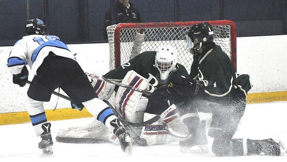 BrewTown's Dylan Tolbert makes save on Suffern's Tom