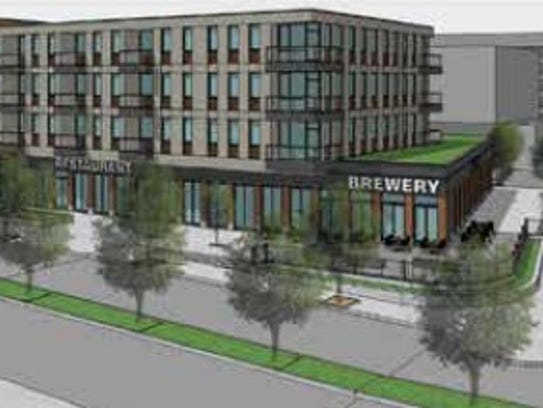 A concept rendering of an infill building proposed