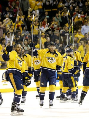 The Nashville Predators celebrate after beating Chicago on April 23, 2015, the last NHL playoff game played at Bridgestone Arena.