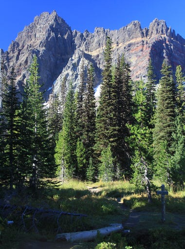 Lower Canyon Creek Meadows features views of Three Fingered Jack.