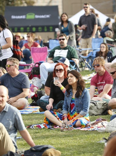 People gather to listen to Railroad Earth at the McDowell Mountain Music Festival on March 5, 2017 in Phoenix, Ariz.