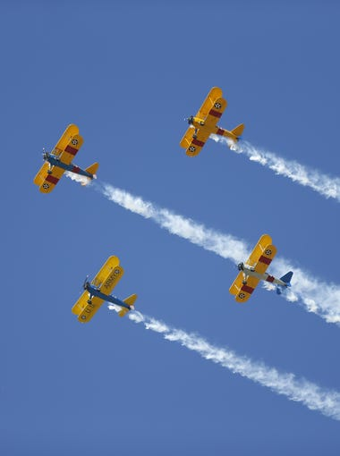The Veterans Day Parade begins with a flyover on Nov. 11, 2017 on Central Avenue in Phoenix, Ariz.