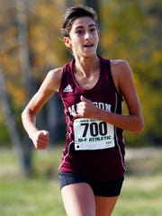 Madison freshman Jamie Habib comes in for a  third-place finish and a PR during the NJSIAA North 2 Group II girls Cross Country Championships at  Central Park of Morris County. November 4, 2017. Morris Plains, New Jersey