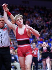 Lisbon junior Cael Happel is a two-time state champion for the Lions' powerhouse program, during which he's racked up 111 wins.