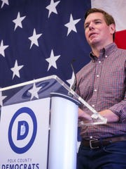 Congressman Eric Swalwell speaks at the Polk County Spring Dinner, annual spring fundraiser for the Polk County Democratic Party, Sunday, May 6th, 2018, representing the largest county in the nation's first caucus state.