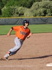 U-E's Shane Hammond rounds third base in Wednesday's Class A baseball final at Vestal.