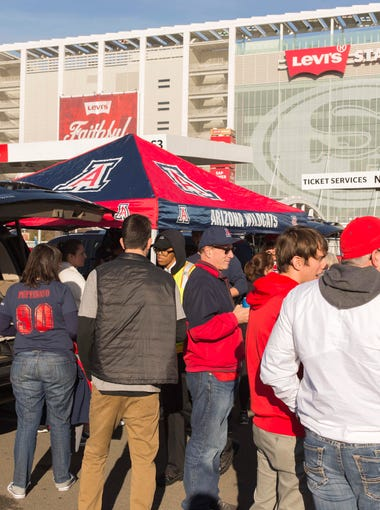 Arizona Wildcats fans tailgate before the Foster Farms Bowl against Purdue at Levi's Stadium on Dec. 27, 2017 in Santa Clara, Calif.