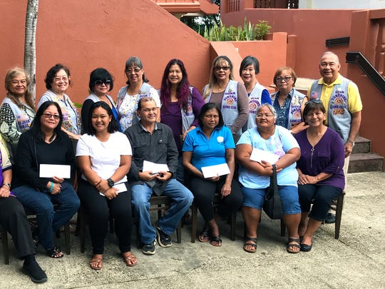 "The Guam Sunshine Lions Club, in fulfilling its mission of serving the community and in ""Caring for the Sick and the Elderly,"" made financial donations to: Marissa Alcantara, 34; Christine Toves, 22; Patrick Camacho, 52, Norma Jean Ogo, 39, and Candido Diaz, 49, on March 8, to assist with their off-island medical treatment expenses. Seated from left: Lion Frank Aguon, first vice president, Lion Danny Cruz, District 204 governor elect, Geraldine Flores (received donation on behalf of Alcantara),  Toves, Camacho, Ogo, Juanita Cajigal (received donation on behalf of Diaz), and Lion Mary Taitano. Standing from left: Lions Bobbie Flores, Dot Leon Guerrero, LouJean Borja, Clare Cruz, Connie Rivera, Annie Artero, Julie Garcia, Sophie Losongco, Marietta Camacho, Jill Pangelinan, and Pete Babauta."