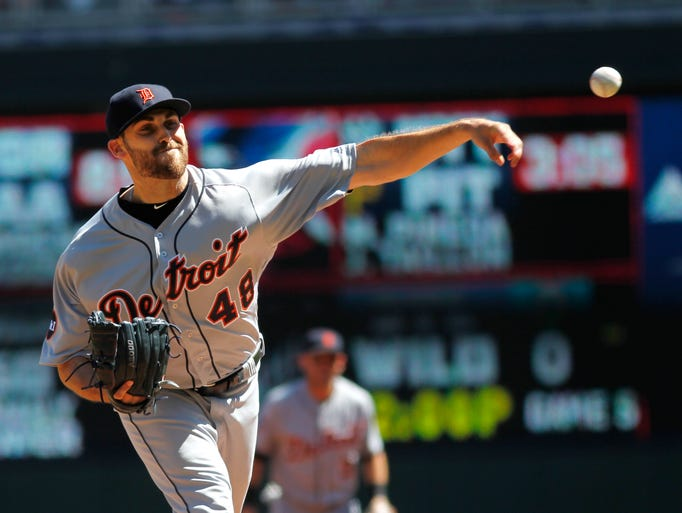 Matthew Boyd of the Detroit Tigers throws to the Minnesota