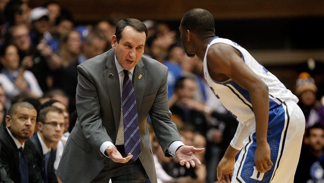 Mike Krzyzewski, left, dismissed Rasheed Sulaimon on Jan. 29, the first player the Duke coach has kicked off the team in 35 years.