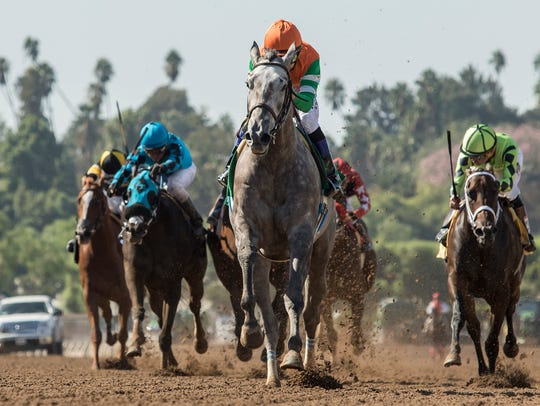 Unique Bella, with jockey Mike Smith up, runs to victory