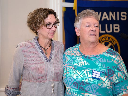 Cynthia Laster (right), of the Kiwanis Club of Abilene,