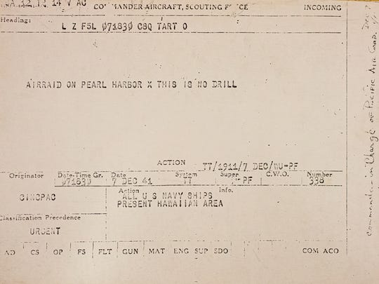 This radiogram was issued to the Commander in Chief of the Pacific Fleet minutes after the Japanese started attaching Pearl Harbor.