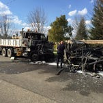 A driver was killed in a fiery crash around 2:10 p.m. near Caldwell and Akers in Visalia.
