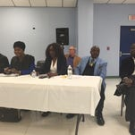 Monroe mayoral candidates participate in forum Thursday night.  (from left to right) Tremaine Donte Gordon, Mayor Jamie Mayo and Councilman Ray Armstrong
