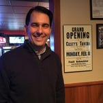 Wisconsin Gov. Scott Walker makes a point while talking with Door County Advocate reporters Jan. 7 in Egg Harbor.