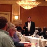 Independent landman Skip Peel addresses crowd of royalty owners, attorneys, minerals managers and other oil and gas officials at National Association of Royalty Owners seminar Monday in Shreveport.