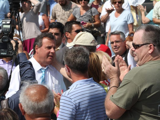 Governor Chris Christie arrives for town hall meeting at the Huisman Gazebo  in Belmar.  Wednesday July 30 Belmar NJ.   Photo by Robert Ward