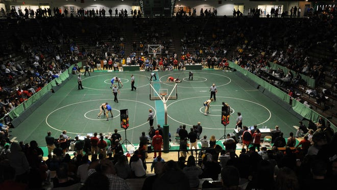 Maybe one day Ryan Prendergast or Ruby and Jash Lewis will find themselves at a semi-state wrestling tournament, like this one in New Castle in 2012.