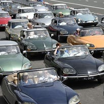 Citroen DS vehicles are showcased at the Autodrome of Lenas-Monthlery, a motor racing circuit,  just southwest of Paris  during a festival celebrating the 60th anniversary of the Citroen DS.