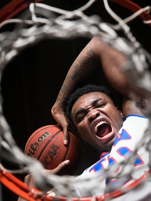 Christian Mekowulu, a forward for the Tennessee State basketball team, at Gentry Center on Monday, Feb. 26, 2018 in Nashville, Tenn.