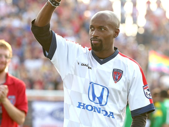 USA national team player DaMarcus Beasley waves to the crowd before the start of the Indy Eleven game against Tampa Bay Rowdies Saturday July 19, 2014 at Carroll Stadium.