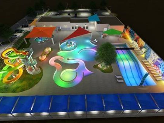 Here is a conceptual design of a future water park that could be built at a city park. The design is just an idea and has not been finalized.