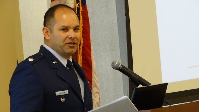 Ohio National Guard Lieutenant Colonel Michael Hrynciw talks to students and law enforcement agents about growing concerns against national security.