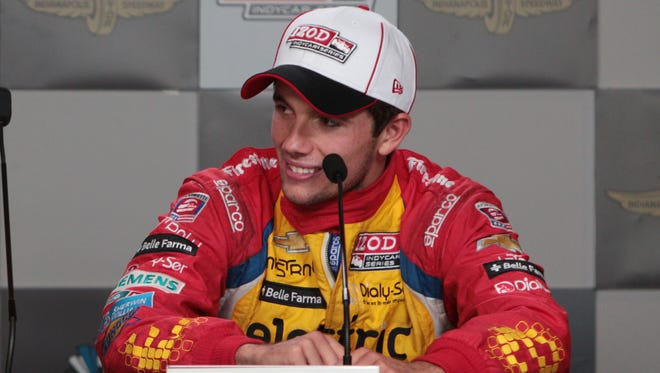 Carlos Munoz was all smiles after placing second in the 97th running of the Indianapolis 500 race at the Indianapolis Motor Speedway Sunday, May 26 2013. (Michelle Pemberton / The Star)