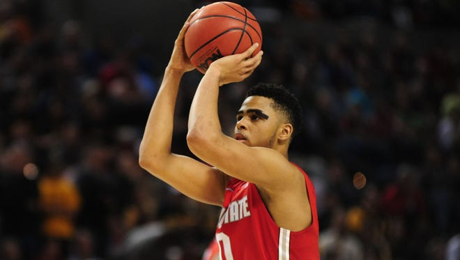 Ohio State Buckeyes guard D'Angelo Russell (0) hasn't yet decided if he's going to declare for the NBA draft.