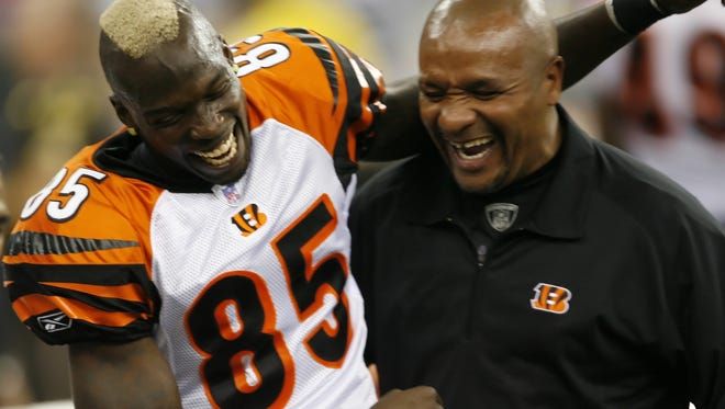 Chad Johnson (left) and Hue Jackson in 2006.