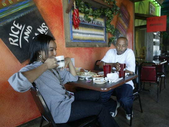 Tinea Mathis-Payne and Aaron Harrell enjoy lunch at