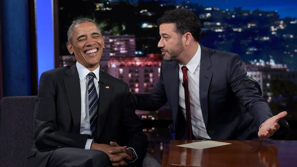 President Obama talks with Jimmy Kimmel in between