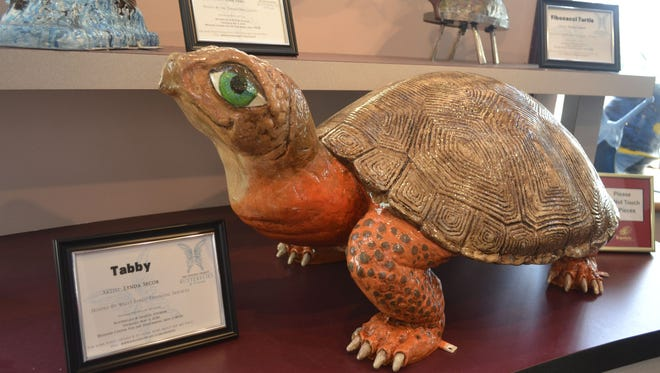 Tabby, a turtle designed by Lynda Secor, is one of more than 20 pieces that will be sold at The Einstein Project's Butterflies & Friends Art Auction at UW-Green Bay's Weidner Center for the Performing Arts on Thursday night, May 5, 2016.