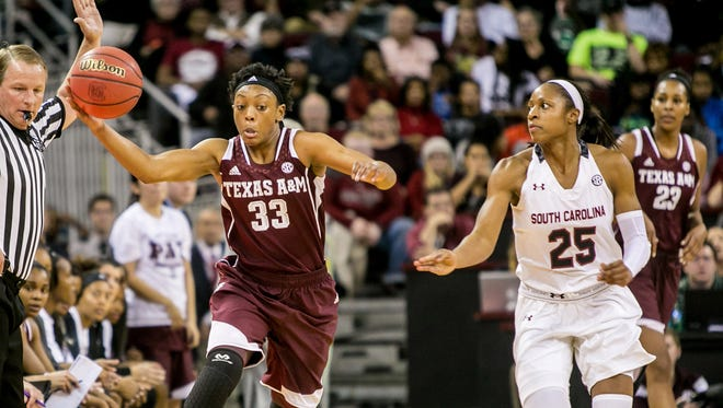 Texas A&M Aggies guard Courtney Walker (33) tries to gain control of the ball as South Carolina Gamecocks guard Tiffany Mitchell (25) chases in the second half at Colonial Life Arena in Columbia, S.C., on Jan. 26, 2015.