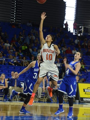 The Lady Tigers of Middleton High School took on the Lady Blue Devils of Harriman High School, Thursday, March 10, 2016 in the quarter finals of the Class A Girls' Basketball Tournament. Middleton defeated Harriman,  62-45.