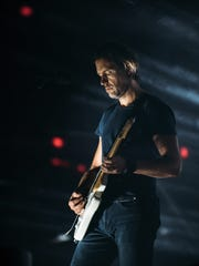 Ed O'Brien of Radiohead performs at Little Caesars Arena in Detroit on July 22, 2018.
