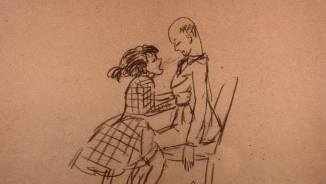 """An Edward Hopper caricature in """"Edward Hopper's Caricatures: At Home with Ed and Jo."""""""