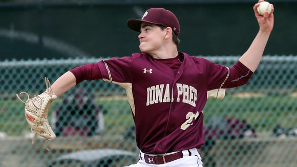 Jack Keenan of Iona Prep pitches to Kennedy Catholic during a varsity baseball game at Iona Prep April 24, 2018. Kennedy defeated Iona Prep 2-1 in nine innings.