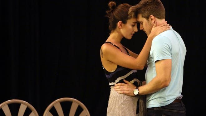 From left, Elena Pascullo, and Michael Spazaini, rehearse a scene from The White Oak Of Johnston on the stage at the North Castle Library in Armonk July 13, 2016.