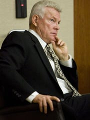 """William """"Bill"""" Hammons of St. George listens to testimony during the first day of his trial Feb. 16, 2011. Hammons was accused and eventually convicted of securities fraud violations and a pattern of illegal behavior while he helped recruit investors for a now-bankrupt company that served as a Ponzi scheme."""