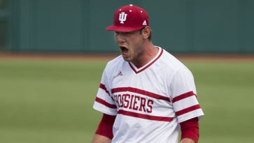 Indiana's Jake Kelzer, shown here in May 2015, closed the door on Nebraska on Thursday in Omaha at the Big Ten tournament.
